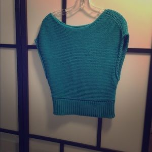 Anthropologie turquoise cropped sweater M